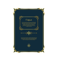 blue certificate with golden elements vector image