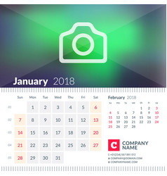 Calendar for january 2018 week starts on sunday 2 vector