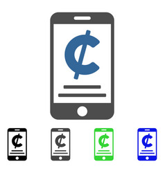Cent mobile payment flat icon vector