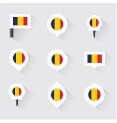 Chad flag and pins for infographic and map design vector