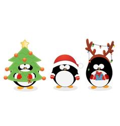 Christmas penguin set vector