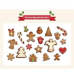 Christmas set of cute gingerbread cookies vector