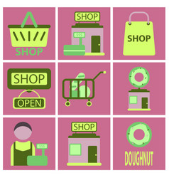 Flat icons set shop vector