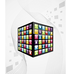 Global mobile phone apps icons cube vector
