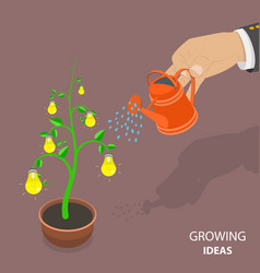 Growing ideas flat isometric concept vector