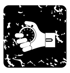 Hand holding stopwatch icon grunge style vector