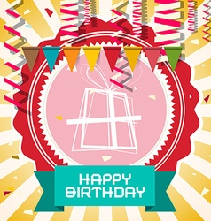 Happy Birthday - Retro Card with Flags - Confetti vector image