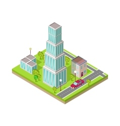 Isometric city web banner vector