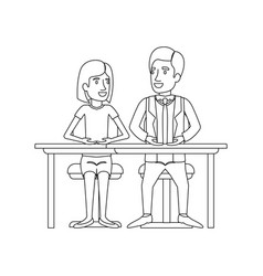 Monochrome silhouette of teamwork of woman and man vector