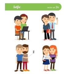 People Taking Selfie vector image
