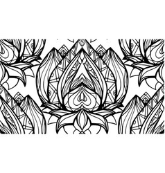 Seamless black and white pattern with lotus with vector