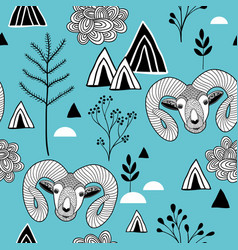seamless pattern with mountain life vector image