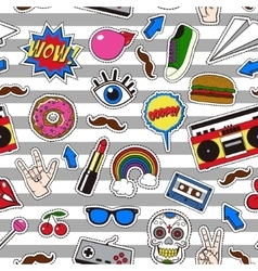 Seamless pattern with retro patch badges in vector