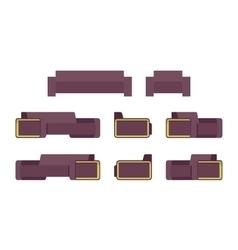 Set of modern sofa and armchiar vector image vector image