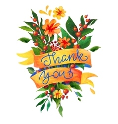 Thank you watercolor flower card vector image vector image
