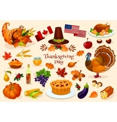 Thanksgiving day isolated icons vector