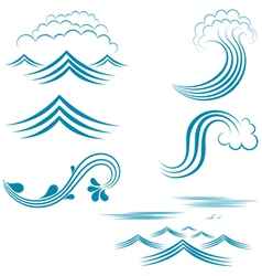 Water wave set vector