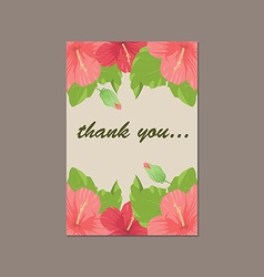 Thank you cartoon card made of floral background i vector