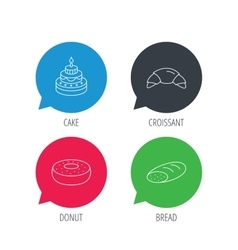 Croissant cake and bread icons vector