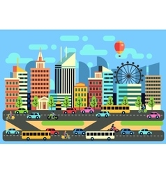 Urban city traffic landscape with moving vector