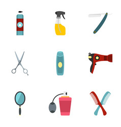 Barber tools icons set flat style vector