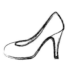 monochrome blurred contour of high heel shoe vector image