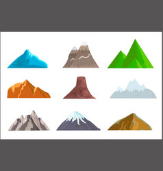 Cartoon hills and mountains set isolated vector