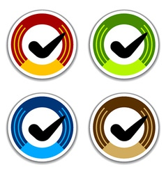 Colored checkmark stickers vector