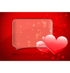 Glass speech bubble with hearts vector image