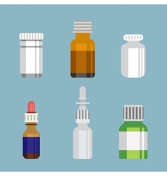 Flat style medical pharmaceutical bottles glasses vector
