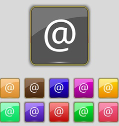 E-mail icon sign set with eleven colored buttons vector