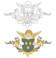 Angel with shield old decoration vector