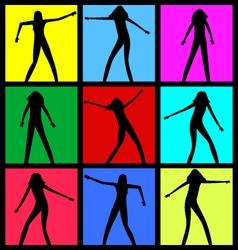 Female dancing silhouettes vector