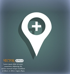 Plus map pointer gps location icon symbol on the vector
