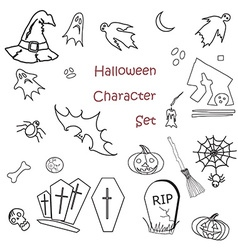 Set of halloween traditional symbols vector