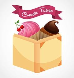Cupcake recipe book vector