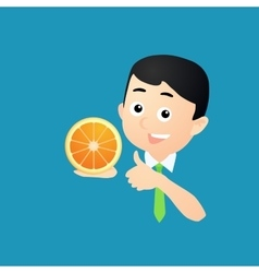 Man with orange fruit vector