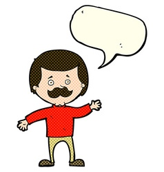 Cartoon dad waving with speech bubble vector