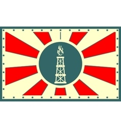 Sun rays backdrop with gas derrick icon vector