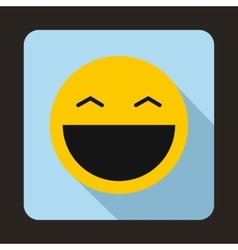Laughing emoticon with open mouth icon vector