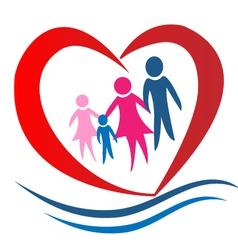 Family heart logo vector image