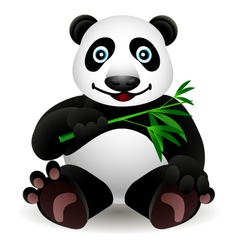 Little cartoon panda and bamboo vector