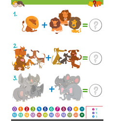 Addition maths activity for kids vector