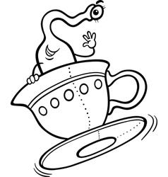 alien cartoon for coloring book vector image vector image