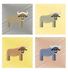 assembly flat shading style icons cartoon bull vector image vector image