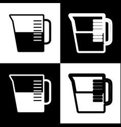 Beaker sign black and white icons and vector