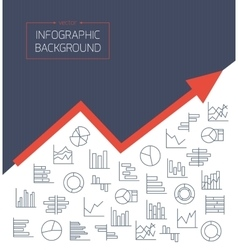 Business background with chart icons in thin lines vector image
