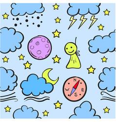 Cloud set doodles vector