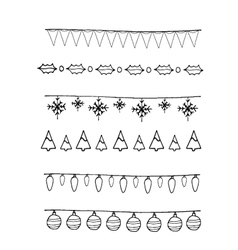 Coloring christmas elements border vector