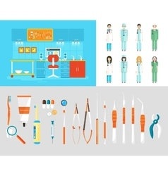 Dental office PC set dentists instruments vector image